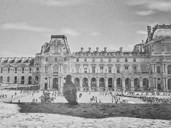 Day 196 Pigeon over looking The Louvre (Clare Pickett) Tags: busy people pigeon mono blackandwhite building france thelouvre iphone