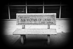 SILENT OBSERVER..... (marsha*morningstar) Tags: victims bench crime grand rapids courthouse black and white vignetting seat