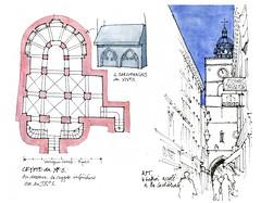 Apt, Vaucluse (gerard michel) Tags: france midipyrénées vaucluse apt église crypte plan tour sketch croquis