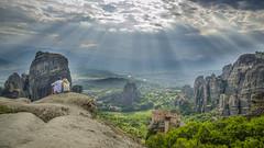 Heavenly Meteora (HAZIZK) Tags: greece monastery heavenly sunrays a couple beautifullscenery nikon d5100 meteora kalambaka kalampaka