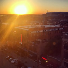 sunset over Lincoln (ekelly80) Tags: nebraska lincoln june2017 roadtrip keisgoesusa graduatehotel view scenery skyline sunset sun sky light glow bright eveninglight evening haymarket above below lookdown