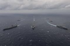 Indian, Japanese, U.S. Warships Build Maritime Interoperability in the Indian Ocean (#PACOM) Tags: ussnimitz cvn68 sailors aircraftcarrier usnavy deployment malabar bayofbengal
