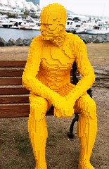 2016-Lego Yellow Man Statue by the Bay Outside SDCC-02 (David Cummings62) Tags: sandiego ca calif california comiccon con david dave cummings outside 2016 lego statue bay art man