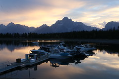 day's end (Glenna Barlow) Tags: grandtetonnationalpark tetons mountain water lake wyoming nature coulterbay boats dusk sunset