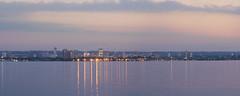 Hamilton Panorama (Umer Javed) Tags: hamilton ontario canada cityscape cans2s hfg lasalle seascape coast f11 canon canont3i panorama goldenhour bluehour 70mm pink blue orange steelcity lights escarpment lakeontario