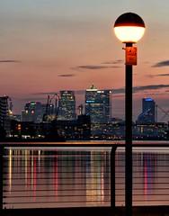 London Sunset (PeskyMesky) Tags: london docklands sunset sunrise canarywharf architecture riverthames dof depthoffield