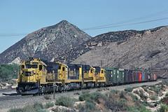 ATSF 3808 - Cajon CA - 08/29/81 (RockAndRail) Tags: cajon cajonpass emd gp40x atsf santafe freight manifest ca california