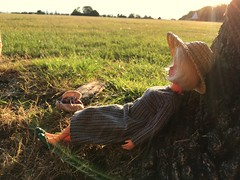 Near the tree we use to meet (dolldudemeow24) Tags: fixed sindy doll blonde straw hat tree leaning sleeping grass field fields summer england holiday vacation 2017