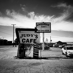 f o o d (Maureen Bond) Tags: cafe judys bw iphone desert clouds wires hot breakfast busy ca maureenbond food signs car