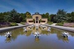Cemetery Symmetry (zsnajorrah) Tags: urban suburban cemetery graveyard burial water pond urn waterlily reflection trees bushes brick building architecture stairs steps symmetry longexposure neutraldensityfilter nd filter breakthroughphotography x3nd10 x4nd3 tiffen gradnd 7dmarkii efs1018mm netherlands haarlem vergierdeweg akendam explore