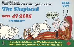 The Shepherd: The Shepherd - Willowdale, Ontario (73sand88s by Cardboard America) Tags: qsl qslcard vintage cbradio cb theshepherd artistcard ontario