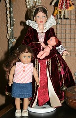 Our new Mrs. Merriman... (Crazyquilter) Tags: americangirl goml girlsofmanylands isabel doll babypolly minidoll minifelicity felicitymerriman