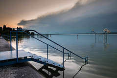 Canute's Absence (Denis Moynihan) Tags: light evening sunset dusk peace calm serene serenity steps reflection still clouds balaton hungary nature travel