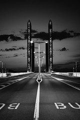 Pont Chaban-Delmas. Bordeaux (vues_de_mon_balcon) Tags: bridge night street rue pont city ville bordeaux chabandelmas france sudouest gironde garonne bw blackandwhite noiretblanc autoremovedfrom10to25faves