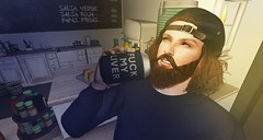 liver (aarontj90) Tags: beer drink alcohol sl secondlife avatar blue snapback beard cool hipster hippie jesus drunk party