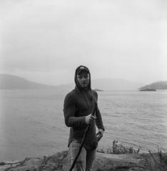 Explorer (glauberpitfall) Tags: filmphotography yashicamat124g yashinon80mm kodak400tx blackandwhite monochrome park pointatkinsonlighthousepark vancouver bc canada