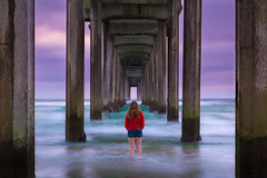 Passing Time Under the Pier (PhotoJacko - Jackie Novak) Tags: scrippspier portrait lajolla sandiego california beach ocean seascape longexposure water jackienovakphotography people canon6d ndfilter