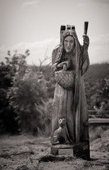 Witch & cat (uhx72) Tags: harz sculpture art artwork mountain germany bw sepia harzeum figure witch statue