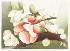 Chinese quince (Japanese Flower and Bird Art) Tags: flower chinese quince chaenomeles speciosa rosaceae noriko iino modern lithograph print japan japanese art readercollection