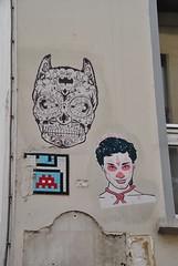 Noty & Aroz, Space Invader (emilyD98) Tags: street art insolite paris rue mur wall collage mosaique mosaic space invader pasted paper noty et aroz notyaroz mouffetard 75005 5ème 5 ème urban exploration city ville installation
