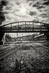 Old train station (Revierfotograf) Tags: station train rail eisenbahn ruhrgebiet brücke nikon bw bahn lokomotive schienen bridge sun clouds hard old d750