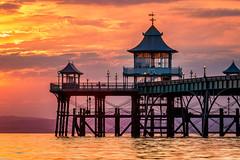 Clevedon Pier (explored 26/07/17) (Dom Haughton) Tags: canon70200 clevedon pier clevedonpier somerset westcountry uk outdoor sunset sea severn estuary severnestuary greatbritain evening water glow colour