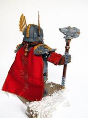Rori Dulgisson, back view (Dwalin Forkbeard) Tags: moc lego dwarf warhammer fantasy total war thane warlord hammer maxifigure cape runes gold gromril medieval beer concept