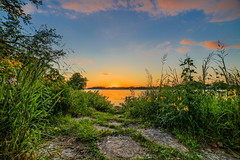 Sunset on Gray's Bay. (Mercenaryhawk) Tags: canon eos 5ds 5dsr 14mm rokinon 28 sunset hdr landscape nature green sky blue beautiful trees bridge yellow clouds natural lake minnetonka minnesota mn