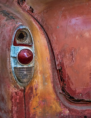 '53 Chevy tail-light (FotoGrazio) Tags: 1950s red waynegrazio waynesgrazio art automobile carbumper chrome contrast corrosion decay faded fallingapart fineart fotograzio orangeandred oxidation phototoart retro rust rusted rusting stilllife taillight texture trunk vintage