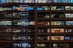 Modern rabbit hutch (Franck_Michel) Tags: building night glass steel light office box