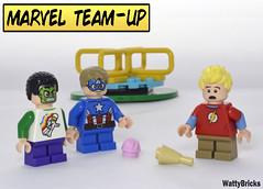 Marvel Team-Up (WattyBricks) Tags: marvel dc comics superheroes teamup captain america hulk flash playground lego minifigures