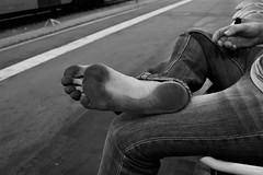 dirty feet in black and white 057 (dirtyfeet6811) Tags: feet sole barefoot dirtyfeet dirtysole blacksole cityfeet