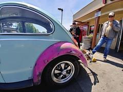 Ryan: 1965 Volkswagen Bug (RZ68) Tags: 1965 vw volkswagen car bug project fast hot rod guy culture ryan santa rosa california pink blue sky smiling man driver south park sonoma county classic smoking cigarette dude sunglasses lg g6 camera phone smartphone