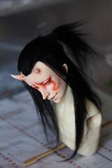 Yamaji - wig and faceup (Mamzelle Follow) Tags: miracledollyoungbaiye handmadewig bjdfaceup oni yokaï bjd doll wip