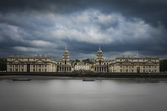 Old Royal Naval College, Greenwich (London Less Travelled) Tags: uk unitedkingdom britain london southlondon greenwich park royal royalnaval college thames river sky water contrast dark wren architecture