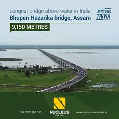 Nucleus Trivia!   Longest bridge in India is the Bhupen Hazarika bridge located in Assam above Lohit (Brahamaputra) River with 9,150 Metres. #Trivia  #Kerala #Kochi #India #Architecture #Home #Construction #City #Elegance #Environment #Elegant #Building # (nucleusproperties) Tags: river beautiful life kochi elegant style kerala realestate lifestyle india luxury trivia comfort nature architecture interior gorgeous design elegance environment beauty building exquisite view bridge city construction atmosphere home