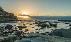 Rocky Daybreak Seascape (Merrillie) Tags: daybreak landscape nature rocky terrigal centralcoast earlymornings water newsouthwales rocks earlymorning nsw sea clouds scenery coastal travel dawn scenic longexposure theskillion seascape skillion coast waterscape australia