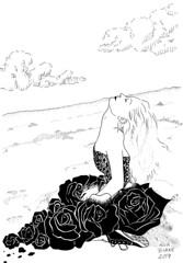 En paz (elbuzonamarillo) Tags: en paz mujer muerta muerte homenaje rosa playa pelo zapatilla nube negro negra vestido zentangle patrón punto arena desierto suicidio accidente descanse tranquila puntillismo