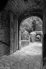 ENTRANCE of PRUDHOE CASTLE, NORTHUMBERLAND_DSC_5098_LR_2.0 (Roger Perriss) Tags: prudhoecastle blackandwhite stone stonework masonry ruin castle entrance pavement doors