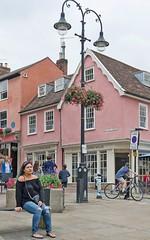 Meet me under the lamp post (sasastro) Tags: street candid woman bench burystedmunds pentax18135 pentaxk5iis