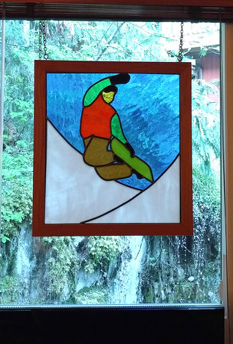 Stained glass snowboarder