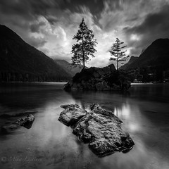 Into the dark (Mika Laitinen) Tags: bw canon5dmarkiv europe germany leefilters calm cloud lake longexposure mountain nature outdoors rock sky summer tree water ramsaubeiberchtesgaden bayern de