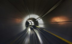 Time travel back to the future (PeterThoeny) Tags: kloten switzerland airport zurichairport zürich tunnel train traintunnel tube timetravel motion motionblur blur indoor 1xp raw nex6 photomatix selp1650 hdr qualityhdr qualityhdrphotography fav100