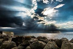 Beams of light (Samkogz) Tags: nikon d7100 sweden malmoe color sea light beams beam sky clouds water summer wind nature landscape seascape oresund öresund