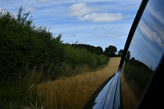 Car Reflection (JerryGoulet) Tags: outdoors nature natureanythinggoes nikon cars reflection england norfolk brunham wilderness jaguar sky skies clouds hedge blé trees fields
