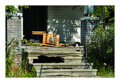 Unseated (TooLoose-LeTrek) Tags: olympusomdem5ii detroit urbandecay abandon house home urban porch chair emptychair emptyseat