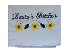 Flour Sack Towel - Sunflowers (initial_impressions) Tags: embroidered personalized floursacktowelwithsunflowerembroidery