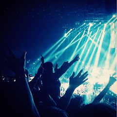 Get ready for it...... (alisoncrowther) Tags: interest love stadium scene musical uk friends venue concert singing laughing fun wave hands beams lights dark movement song night music crowd