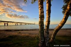Straits of Mackinac (mswan777) Tags: cloud travel water mackinac bridge mackinaw sunset evening nikon d5100 sigma 1020mm landscape tree michigan seascape straits vacation light beach sand
