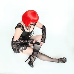 Fishnets and Heels (M Corbin Photography) Tags: sexy boudoir lady pose highheels heels blacklingerie redhair rednails redlipstick glovettes gloves fishnets fishnetstockings fishnetsandheels heelsandfishnets corset